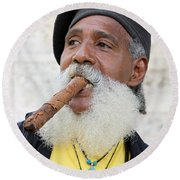 Cigar Man Round Beach Towel