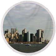 City At The Waterfront, New York City Round Beach Towel