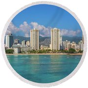 City At The Waterfront, Waikiki Round Beach Towel