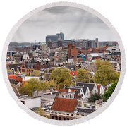 City Of Amsterdam From Above Round Beach Towel
