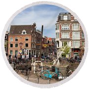 City Of Amsterdam In Netherlands Round Beach Towel