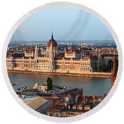 City Of Budapest Cityscape Round Beach Towel