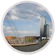 City Of Rotterdam In Netherlands Round Beach Towel