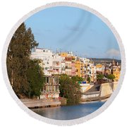 City Of Seville In Spain Round Beach Towel