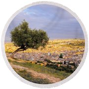 Cityscape Of Fes In Morocco Round Beach Towel