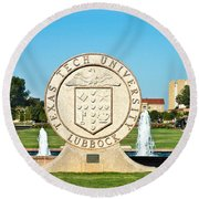 Classical Image Of The Texas Tech University Seal  Round Beach Towel
