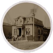 Clay And Hyde Street's San Francisco Built In 1874 Burned In The 1906 Fire Round Beach Towel