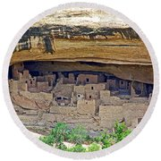 Cliff Palace From Chapin Mesa Top Loop Road In Mesa Verde National Park-colorado Round Beach Towel