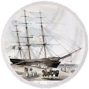 Clipper Flying Cloud, 1851 Round Beach Towel