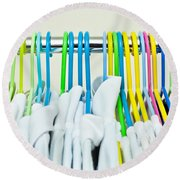 Clothes Hangers Round Beach Towel by Tom Gowanlock