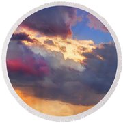 Cloudscape Sunset Touch Of Blue Round Beach Towel