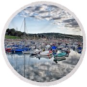 Cloudy Morning - Lyme Regis Harbour Round Beach Towel
