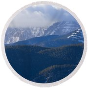Cloudy Peak Round Beach Towel