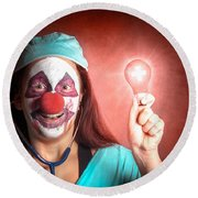 Clown Doctor Holding Red Emergency Lightbulb Round Beach Towel