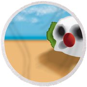 Clown Skull In The Desert Round Beach Towel