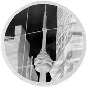 Cn Tower Reflected Round Beach Towel