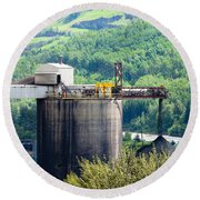 Coal Mine Electrical Energy Power Plant In Nature Round Beach Towel