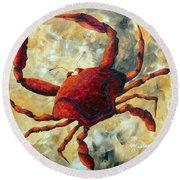 Coastal Crab Decorative Painting Original Art Coastal Luxe Crab By Madart Round Beach Towel