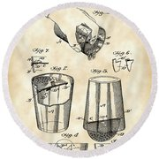 Cocktail Mixer And Strainer Patent 1902 - Vintage Round Beach Towel