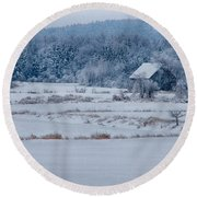 Cold Blue Snow Round Beach Towel
