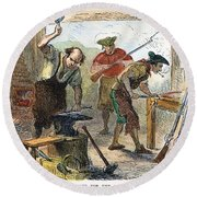 Colonial Blacksmith, 1776 Round Beach Towel