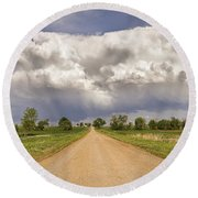 Colorado Country Road Stormin Skies Round Beach Towel