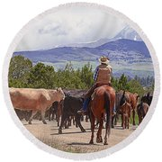 Colorado Cowboy Cattle Drive Round Beach Towel
