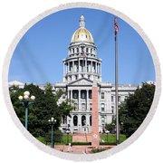 Colorado State Capitol Building Denver Round Beach Towel