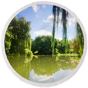 Colorful Autumn Summer Park Round Beach Towel