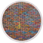 Colorful Brick Wall Texture Round Beach Towel
