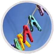 Colorful Clothes Pins Round Beach Towel