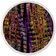 Colorful Computer Generated Abstract Fractal Flame Round Beach Towel by Keith Webber Jr
