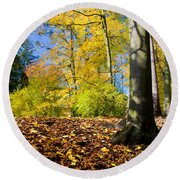 Colorful Fall Autumn Park Round Beach Towel