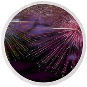 Colorful Fireworks  Round Beach Towel