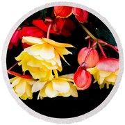 Colorful Flowers Round Beach Towel by Tom Gowanlock