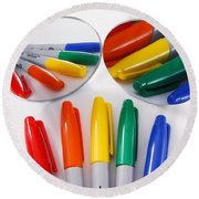 Colorful Markers Round Beach Towel