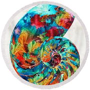 Colorful Nautilus Shell By Sharon Cummings Round Beach Towel