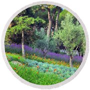 Colorful Park With Flowers Round Beach Towel