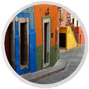 Colorful Street, Mexico Round Beach Towel