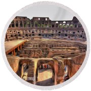 Colosseum In Rome Round Beach Towel