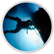 Commercial Diver At Work Round Beach Towel
