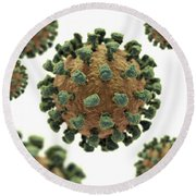 Common Cold Virus Round Beach Towel