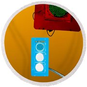 Confusing Wrong-color Traffic Lights And Copyspace Round Beach Towel