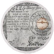 Continental Currency, 1779 Round Beach Towel