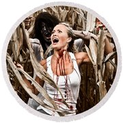 Corn Field Horror Round Beach Towel