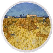 Corn Harvest In Provence Round Beach Towel