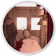 Corpse Bullet Holes Train Robber Cole Estes Aka Cole Young 1872-1896 Collage 1896-2012  Round Beach Towel