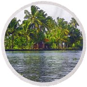 Cottage In The Midst Of Greenery Round Beach Towel