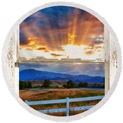 Country Beams Of Light Barn Picture Window Portrait View  Round Beach Towel