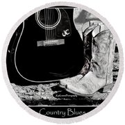 Country Blues Round Beach Towel